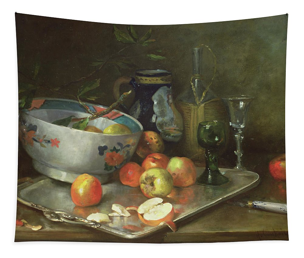 Fruit Bowl Tapestry featuring the painting Still Life With Apples by Eugene Henri Cauchois