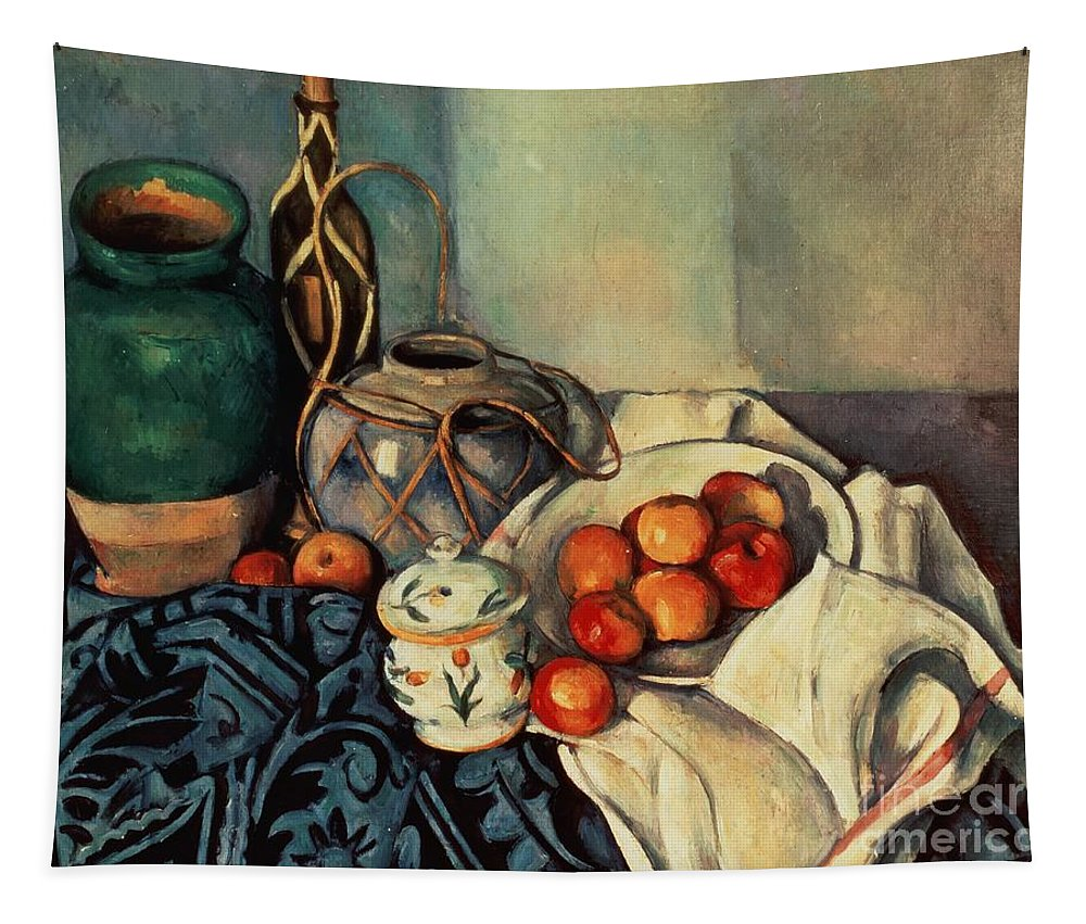 Still Tapestry featuring the painting Still Life With Apples by Paul Cezanne