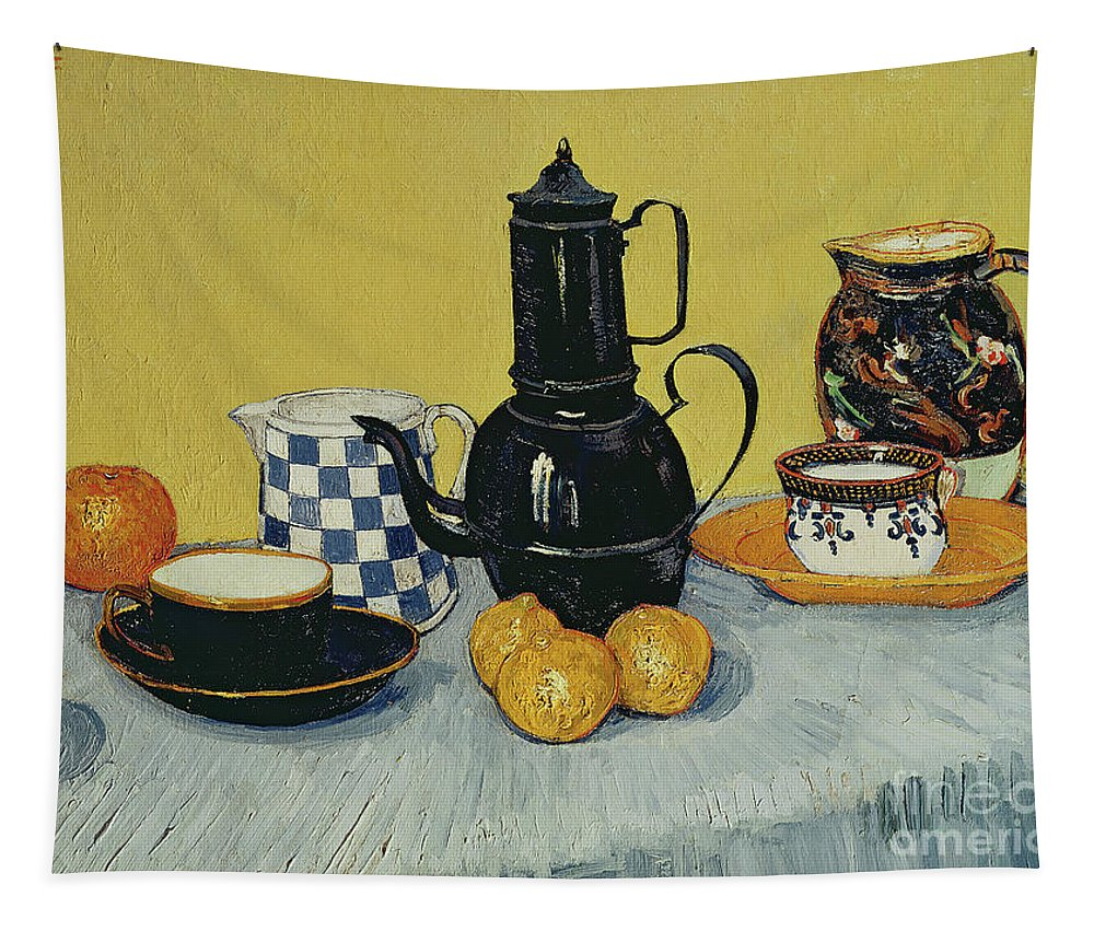 Still Life With Blue Enamel Coffeepot Tapestry featuring the painting Still Life With Blue Enamel Coffeepot, Earthenware And Fruit, 1888 by Vincent Van Gogh