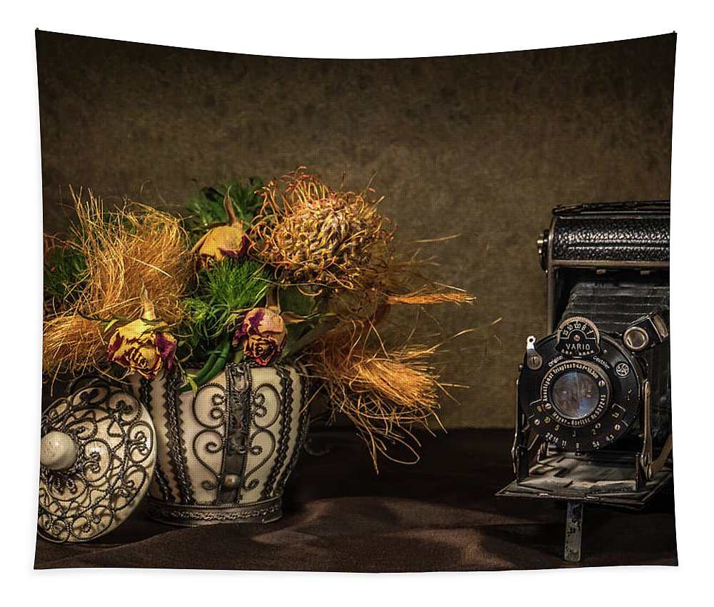 Still Life Tapestry featuring the photograph Still Life with Flowers and Camera by Wim Lanclus