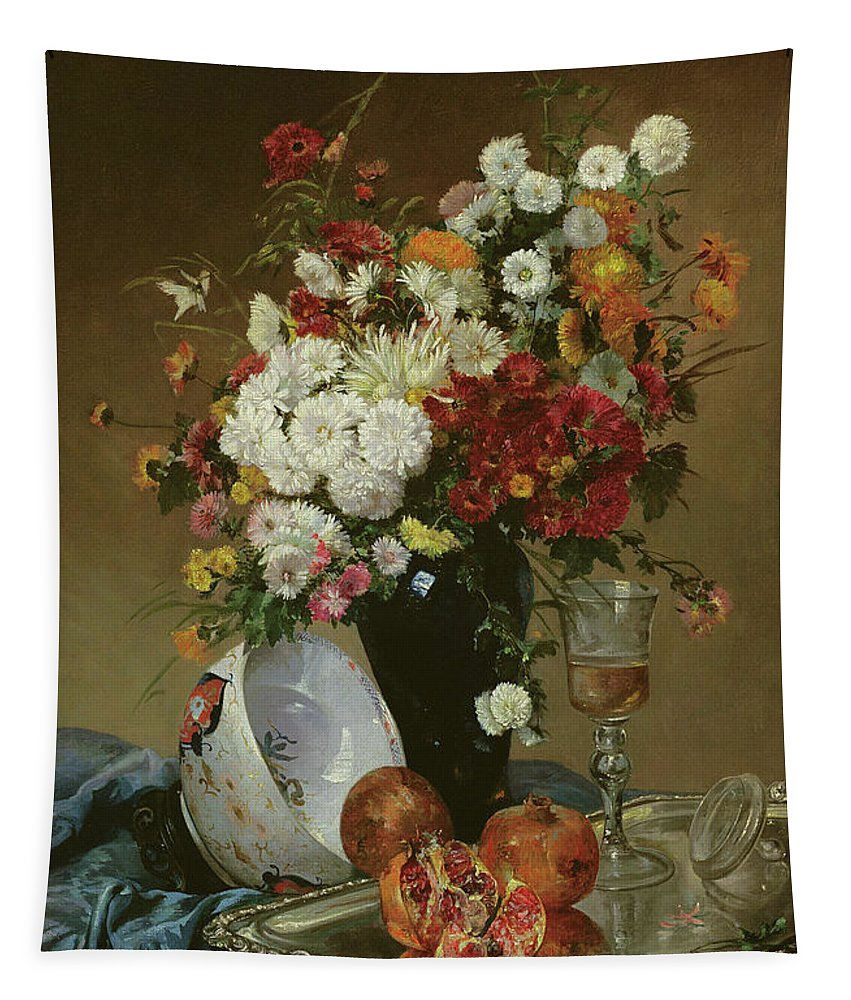 Still-life Tapestry featuring the painting Still Life With Flowers And Pomegranates by Eugene Henri Cauchois