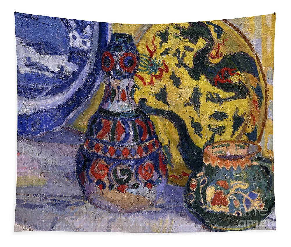 Still-life Tapestry featuring the painting Still Life With Oriental Figures, 1913 by Spencer Frederick Gore