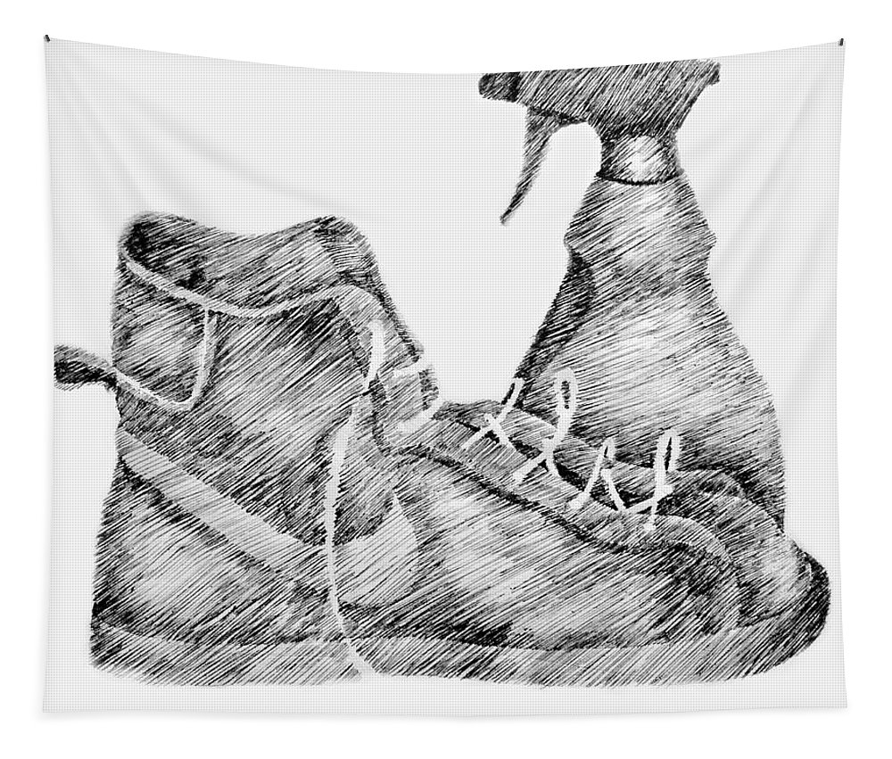 Pen Tapestry featuring the drawing Still Life With Shoe And Spray Bottle by Michelle Calkins