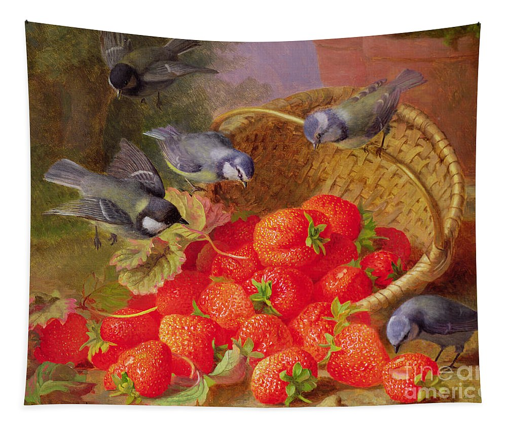 Still Tapestry featuring the painting Still Life With Strawberries And Bluetits by Eloise Harriet Stannard