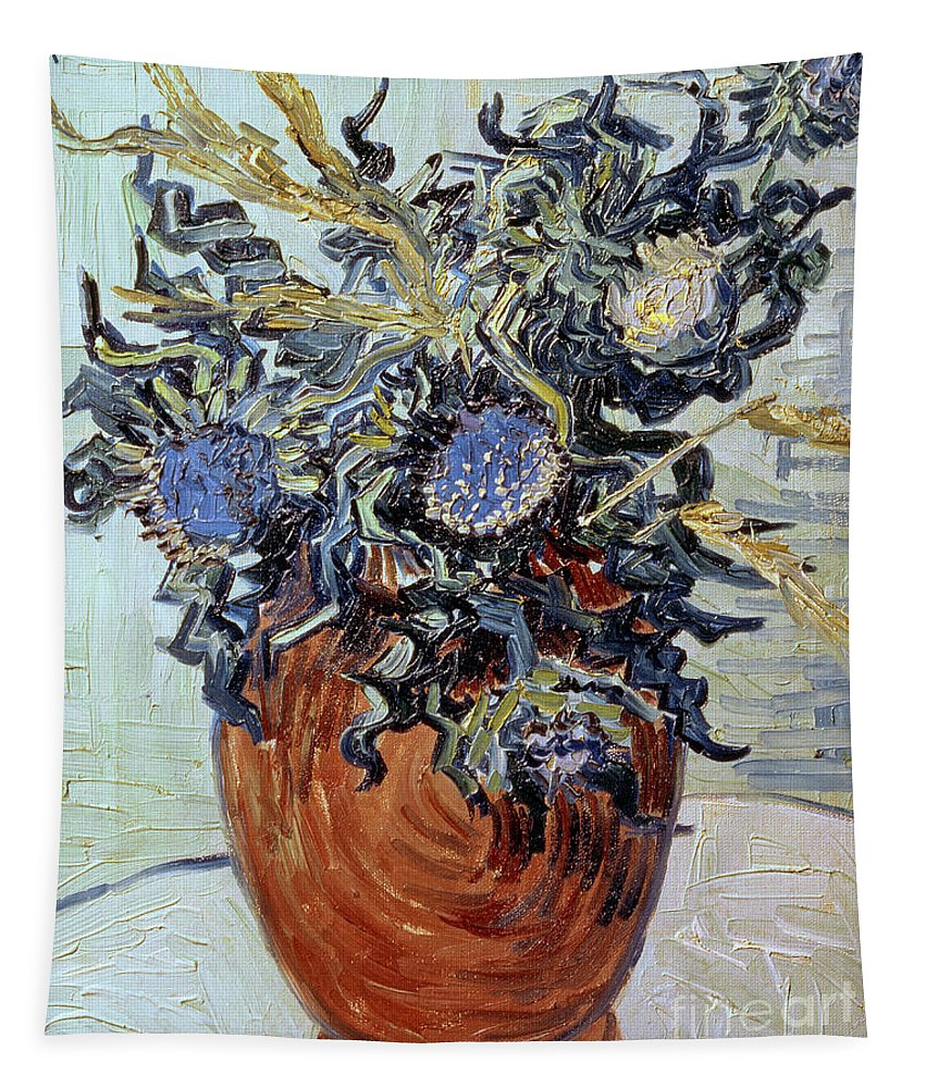 Still Life With Thistles Tapestry featuring the painting Still Life With Thistles by Vincent van Gogh