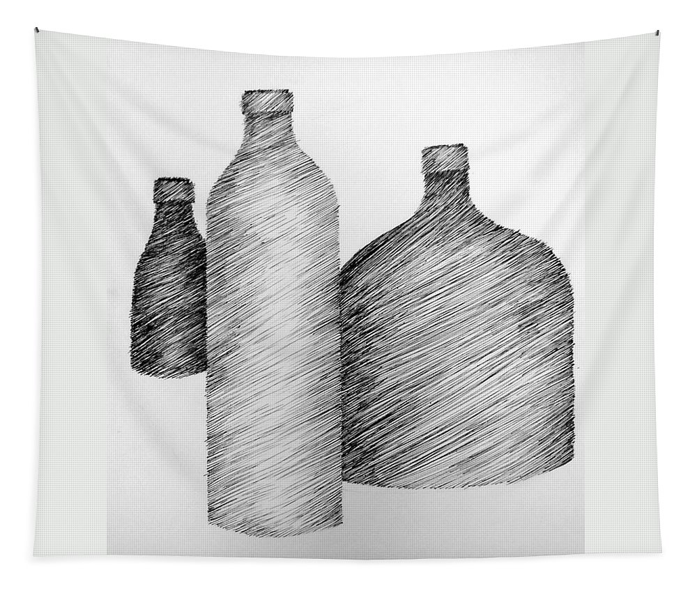 Still Life Tapestry featuring the drawing Still Life With Three Bottles by Michelle Calkins