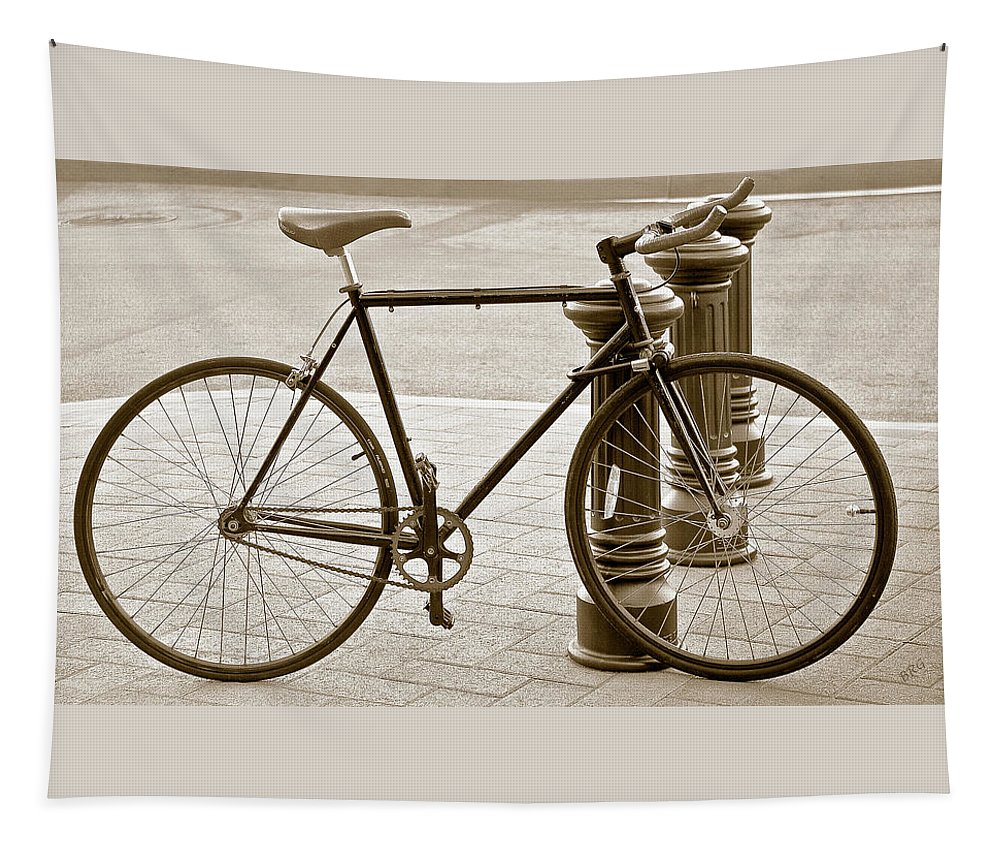 Bicycle Tapestry featuring the photograph Still Life With Trek Bike In Sepia by Ben and Raisa Gertsberg