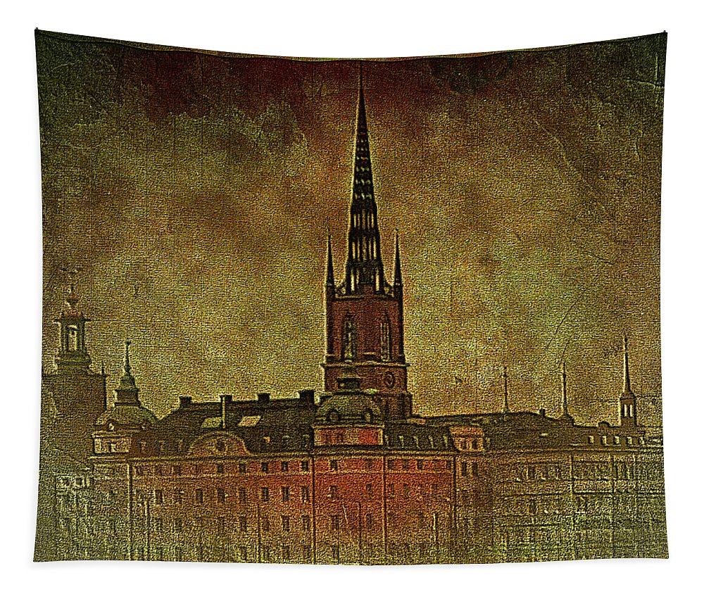 Stockholm Tapestry featuring the digital art Stockholm Painting V by Ramon Martinez