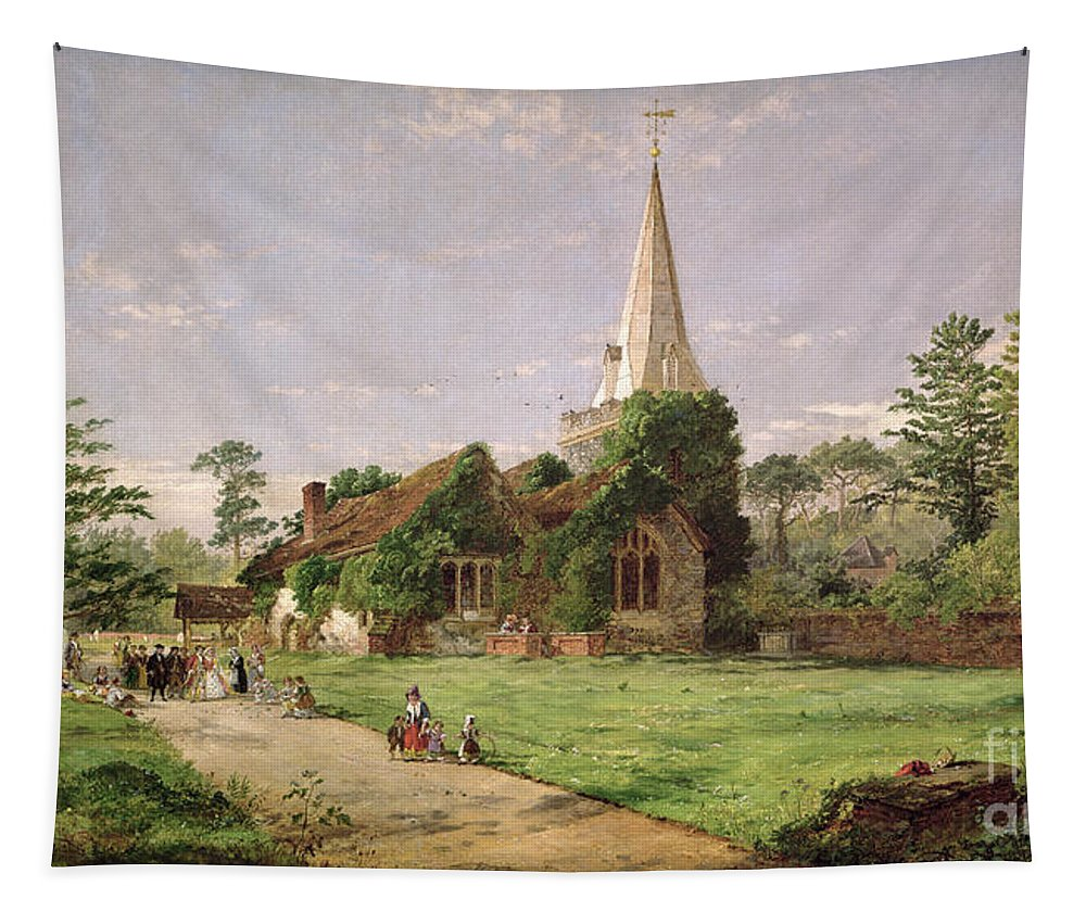 Stoke Tapestry featuring the painting Stoke Poges Church by Jasper Francis Cropsey