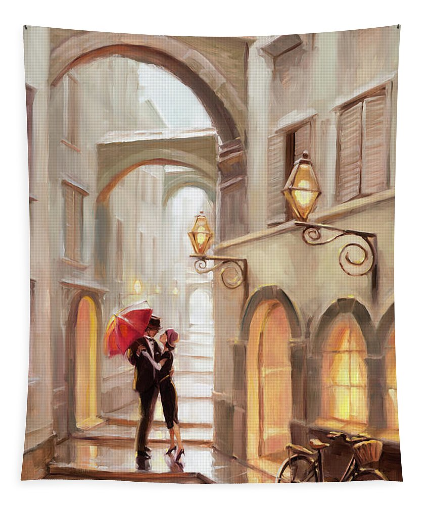 Love Tapestry featuring the painting Stolen Kiss by Steve Henderson