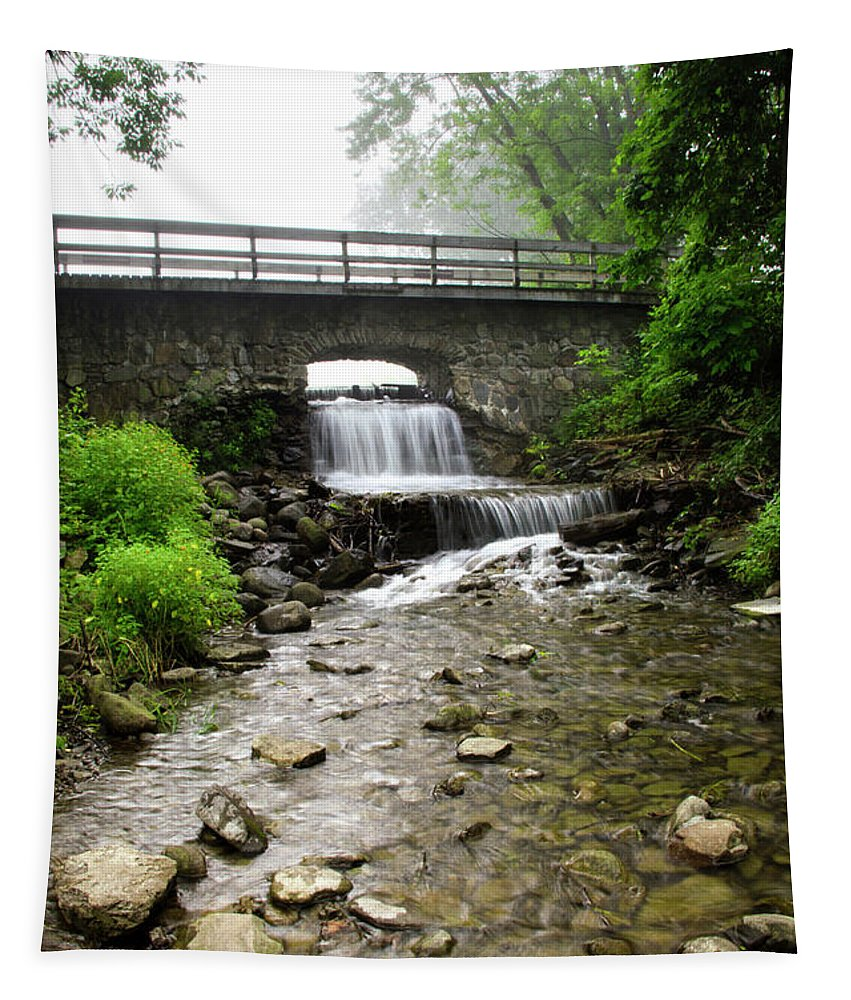 Stone Tapestry featuring the photograph Stone Bridge Over Small Waterfall by Christina Rollo