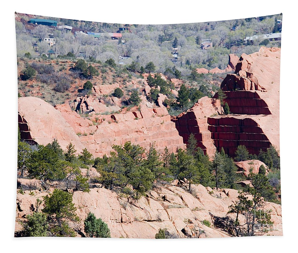 Rock Quarry Tapestry featuring the photograph Stone Quarry In Red Rock Canyon Open Space Park by Steve Krull
