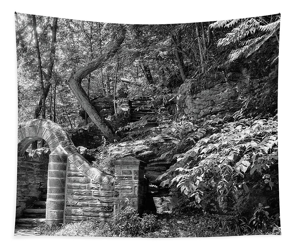 Stone Tapestry featuring the photograph Stone Stairway Along The Wissahickon Creek In Black And White by Bill Cannon
