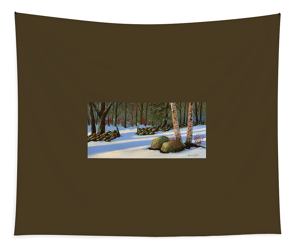 Landscape Tapestry featuring the painting Stone Wall Gateway by Frank Wilson