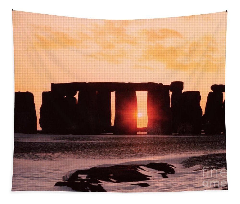 Stonehenge Tapestry featuring the painting Stonehenge Winter Solstice by English School