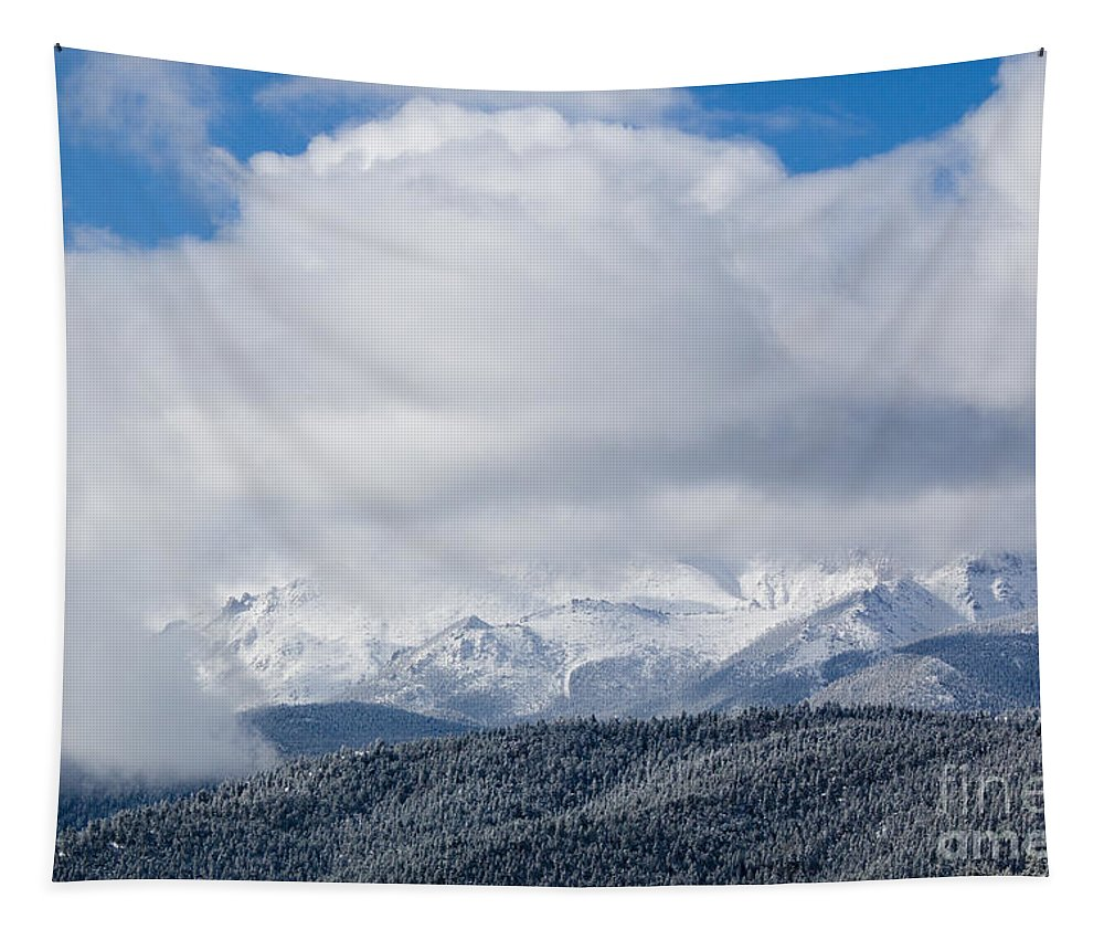 14er Tapestry featuring the photograph Storm Clouds And Snow On Pikes Peak by Steve Krull