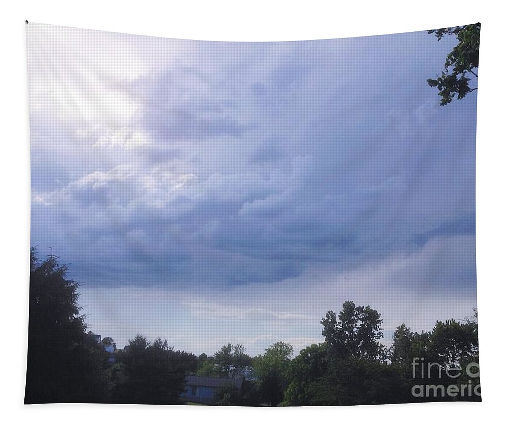 Blue Tapestry featuring the photograph Storm Clouds Passing Through by Debra Lynch