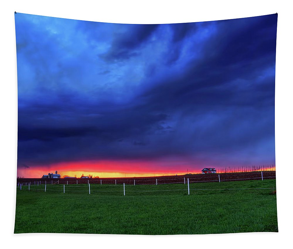 Dale Kauzlaric Tapestry featuring the photograph Storm Over Farm Country by Dale Kauzlaric