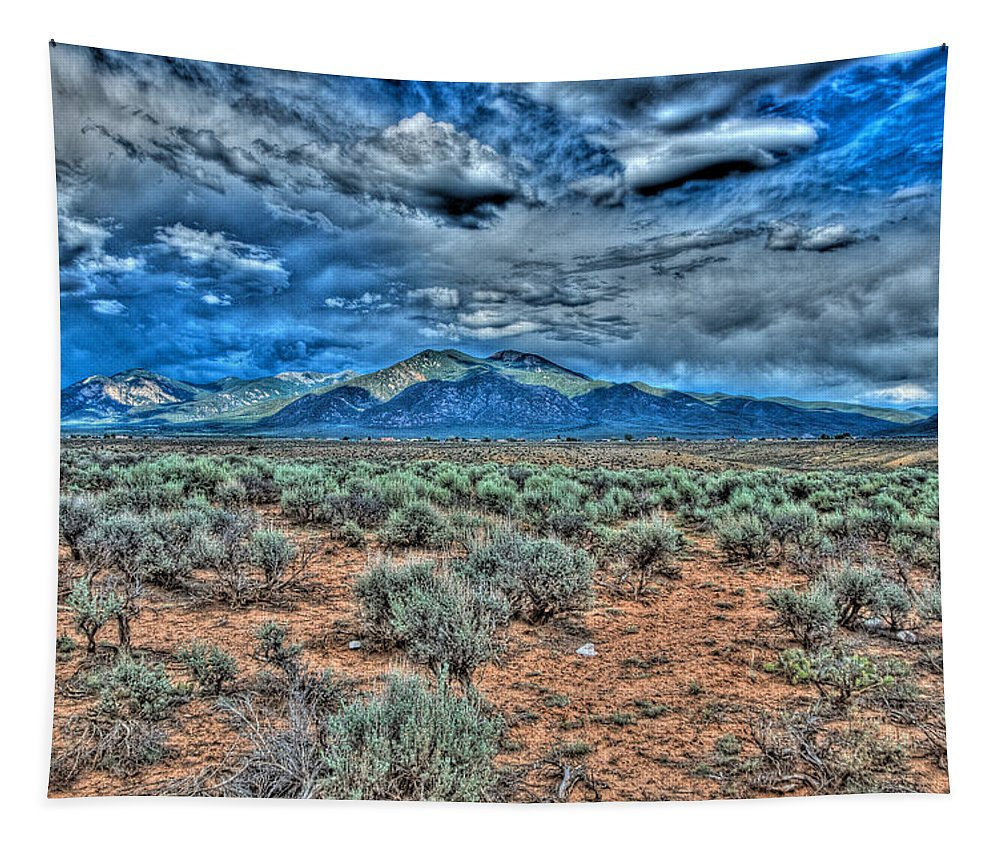 Taos Tapestry featuring the photograph Storm Over Taos Mountain by Charles Muhle