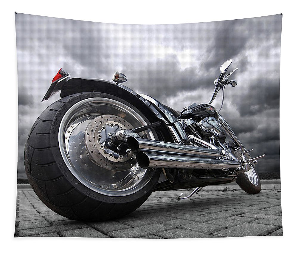Harley Davidson Motorcycle Tapestry featuring the photograph Storming Harley by Gill Billington