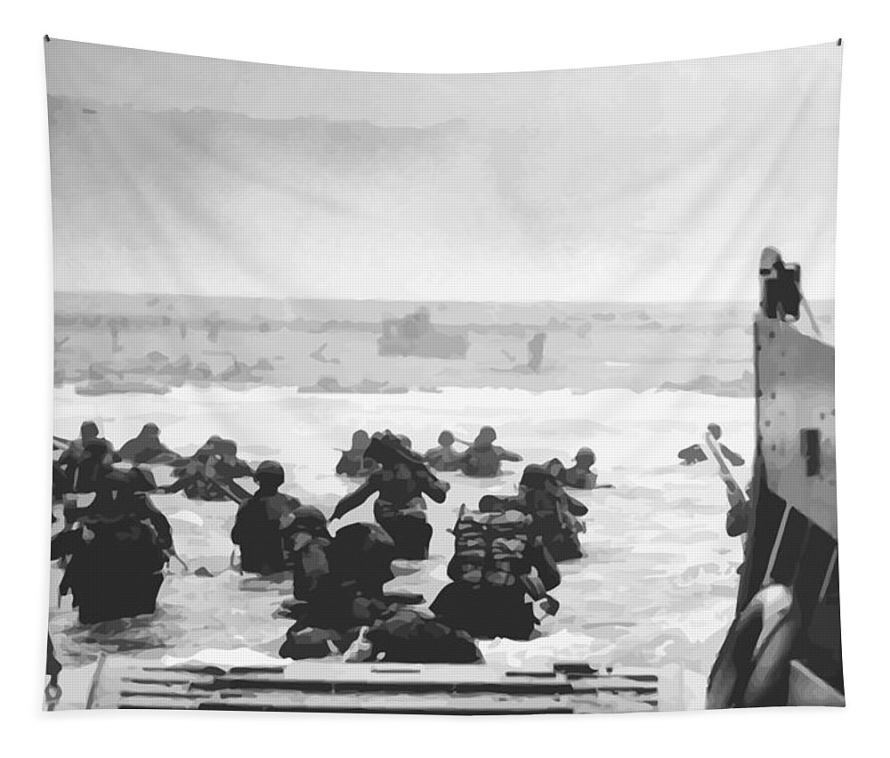 D Day Tapestry featuring the painting Storming The Beach On D-day by War Is Hell Store