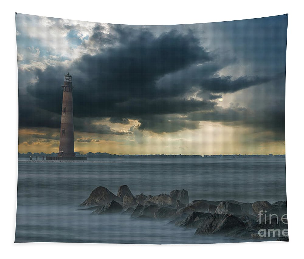 Morris Island Lighthouse Tapestry featuring the photograph Stormy Morris Island by Dale Powell