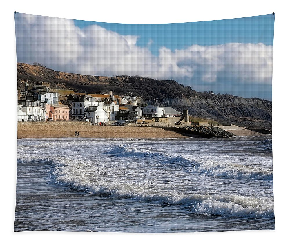 Seafront Tapestry featuring the photograph Stormy Seafront - Lyme Regis by Susie Peek