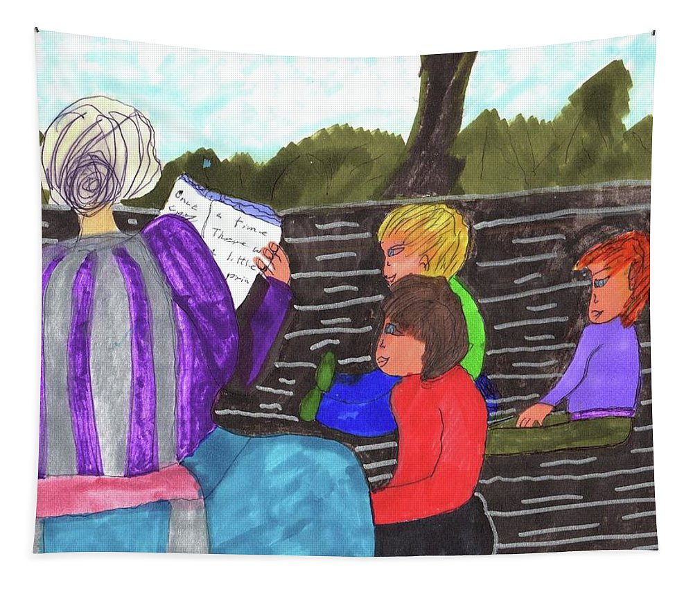 Grand-mom Reading To Her Grand Children Tapestry featuring the mixed media Story-time On Grand Mom's Porch by Elinor Helen Rakowski