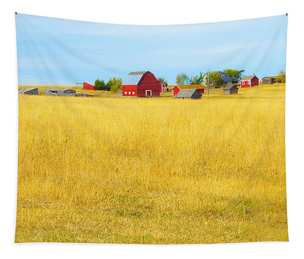 Barn Tapestry featuring the photograph Storybook Farm by Theresa Tahara