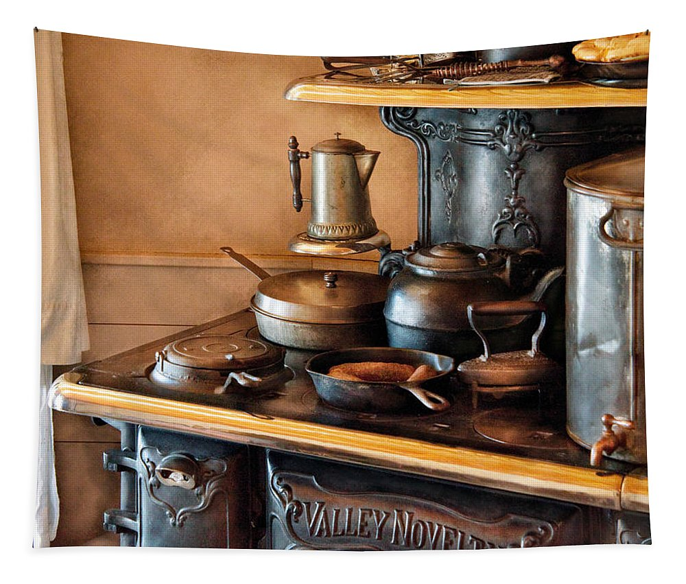 Kitchen Tapestry featuring the photograph Stove - Breakfast At My Great Grandmothers by Mike Savad