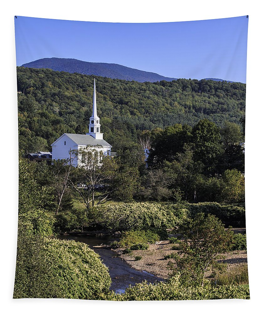 Stowe Tapestry featuring the photograph Stowe Vermont by Edward Fielding