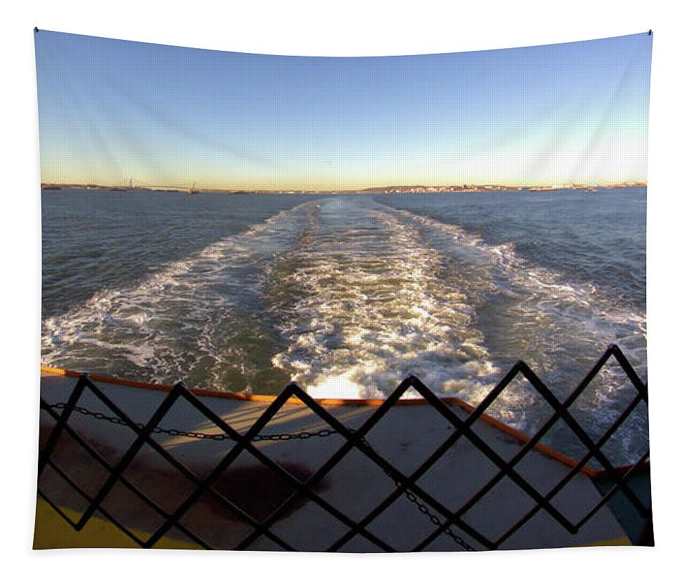 Straight Wake Tapestry featuring the photograph Straight Wake by Robert McCulloch