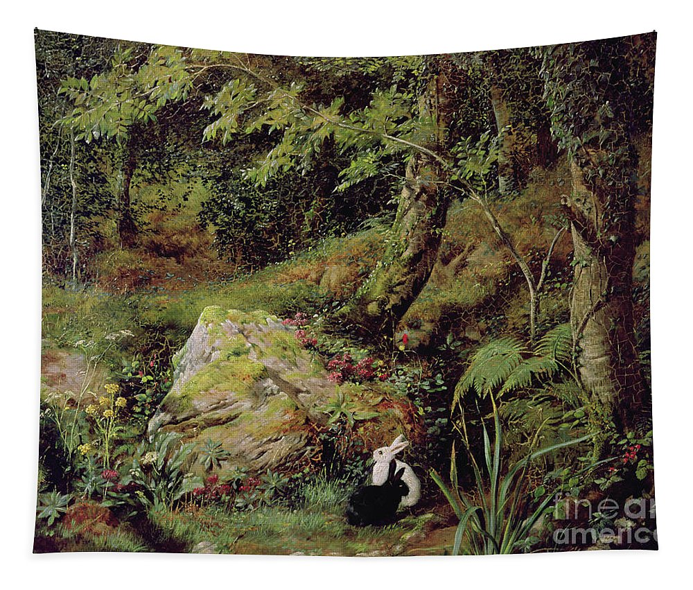 Stray Rabbits.rabbit Tapestry featuring the painting Stray Rabbits by James Collinson