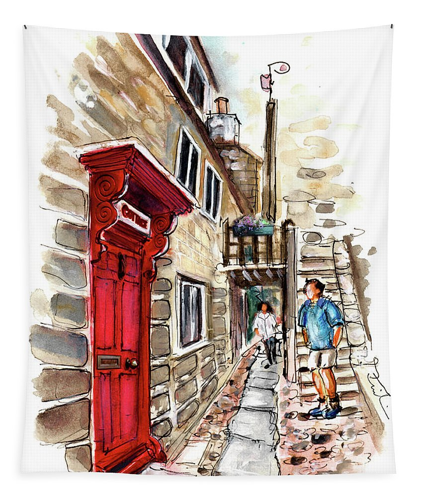 Travel Tapestry featuring the painting Street In Robin Hoods Bay 01 by Miki De Goodaboom