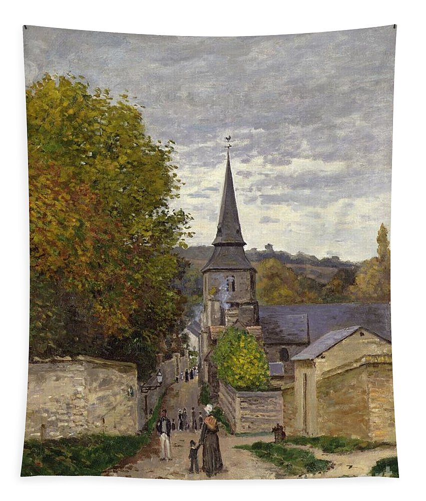 Street In Sainte-adresse Tapestry featuring the painting Street In Sainte Adresse by Claude Monet