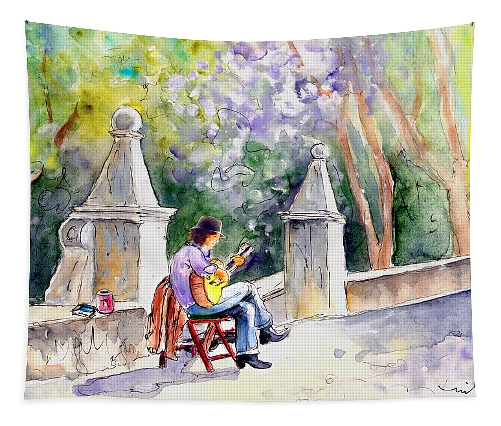 Travel Tapestry featuring the painting Street Musician In Pollenca by Miki De Goodaboom