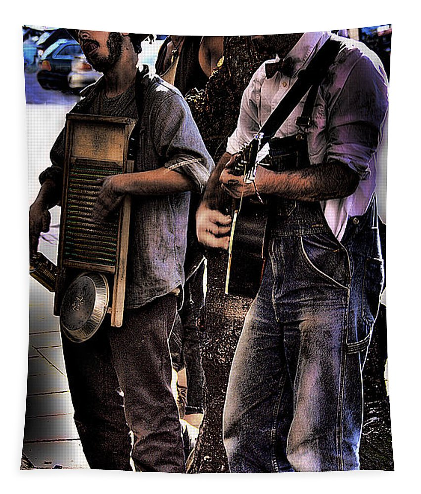 Street Musicians Tapestry featuring the photograph Street Musicians by David Patterson