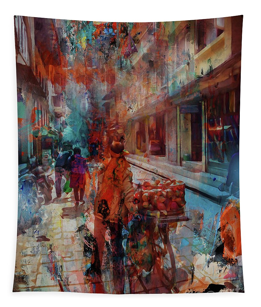 Grimshaw Tapestry featuring the painting Street Of Nepal Colored by Gull G