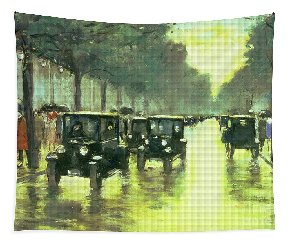 Leo Lesser Ury Tapestry featuring the photograph Street Scene by Lesser Ury