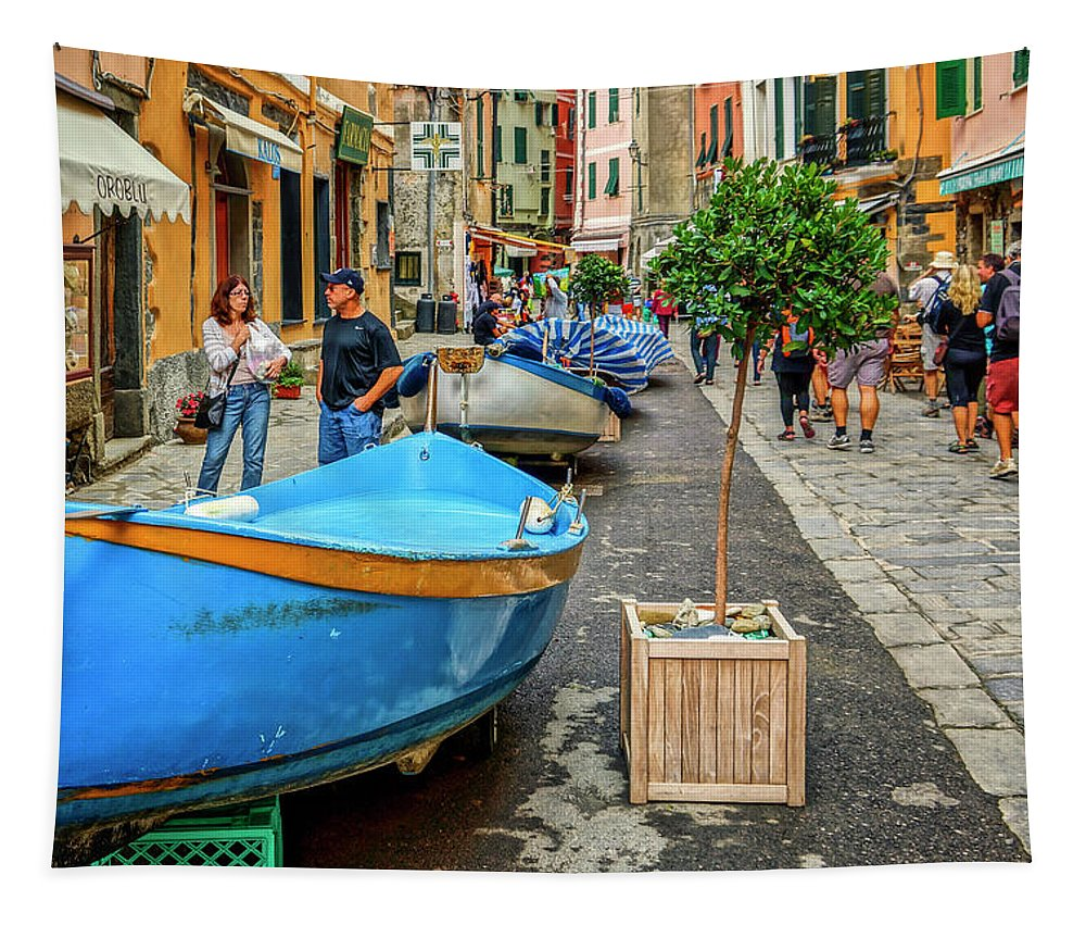 Cinque Terre Tapestry featuring the photograph Street Scene Manarola Italy Dsc02634 by Greg Kluempers