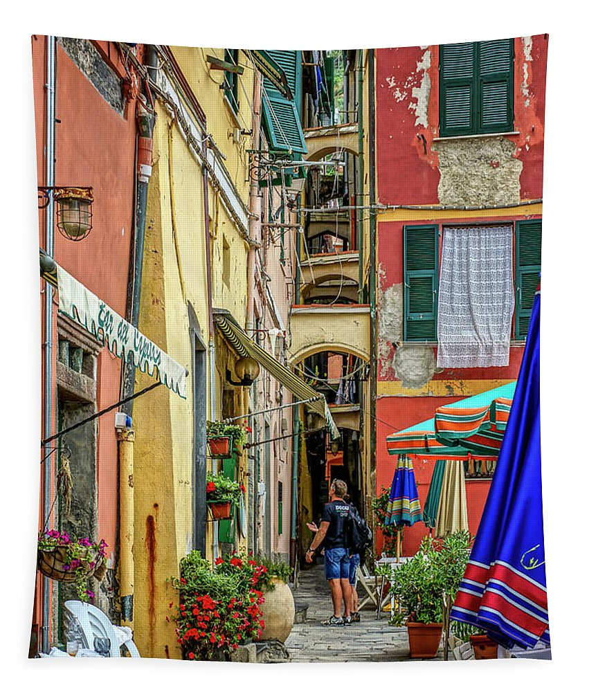 Square Tapestry featuring the photograph Street Scene Vernazza Italy Dsc02651 by Greg Kluempers