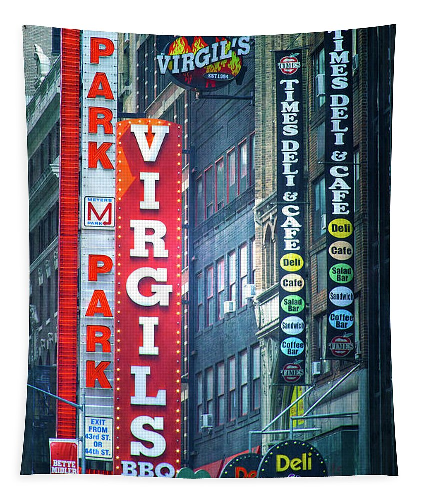 New York Tapestry featuring the photograph Street Signs Of New York by Mark Andrew Thomas
