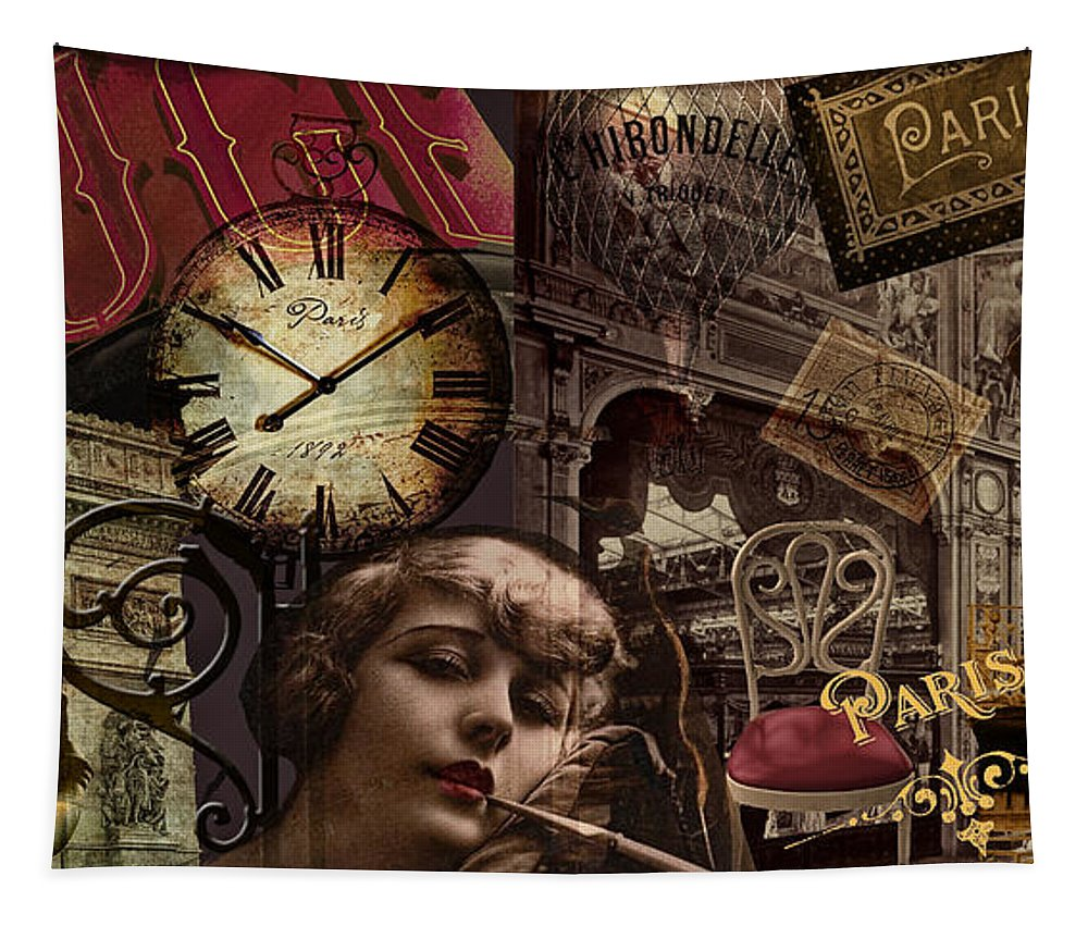 Paris Tapestry featuring the painting Streets Of Paris II by Mindy Sommers
