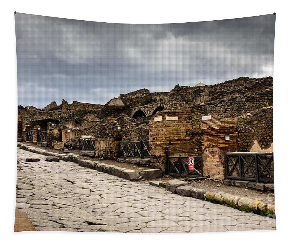 Ancient Tapestry featuring the photograph Streets Of Pompeii - 1a by Debra Martz