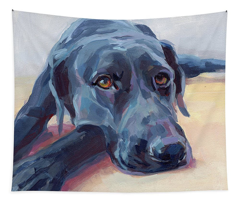 Black Lab Tapestry featuring the painting Stretched by Kimberly Santini