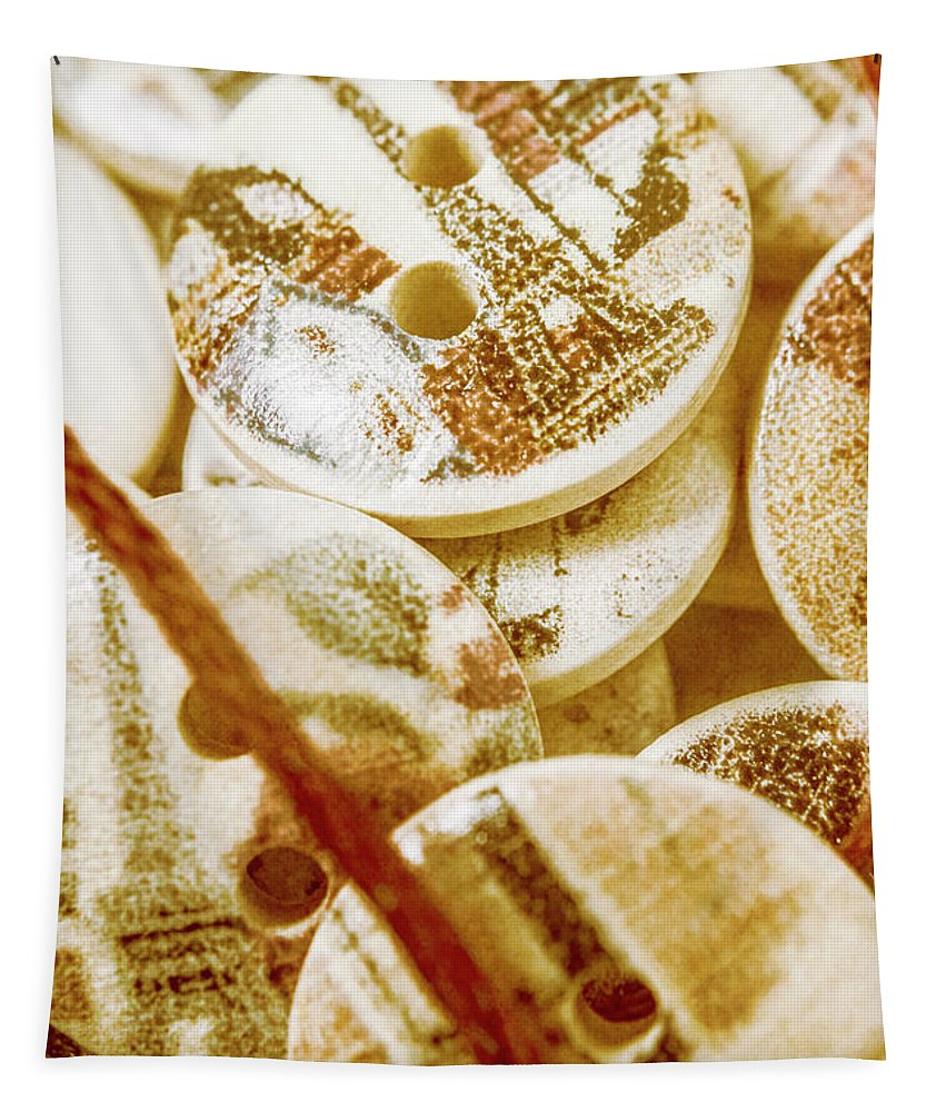 Sewing Tapestry featuring the photograph String Of Buttons by Jorgo Photography - Wall Art Gallery