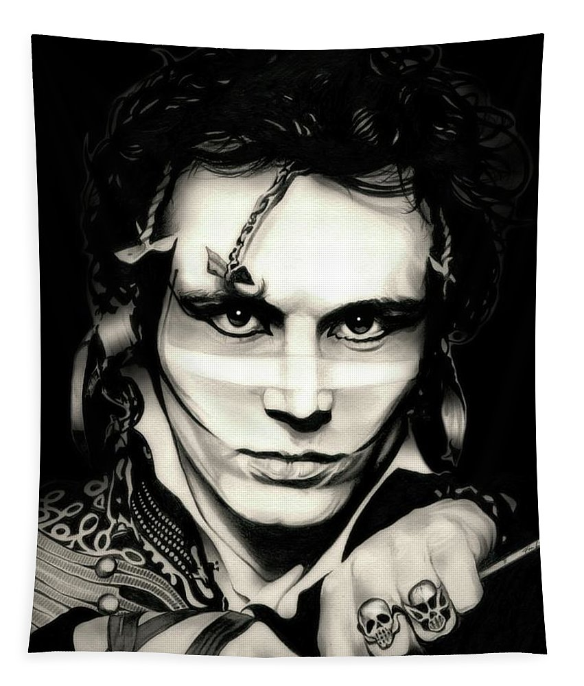 Adam Ant Tapestry featuring the drawing Strip by Fred Larucci