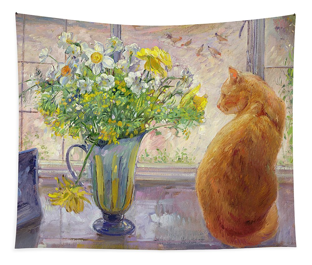 Ginger; Cat; Vase; Narcissi; Chicken; Pheasants Eye; Flower; Flowers ; Window; Open Window; Pheasant Tapestry featuring the painting Striped Jug With Spring Flowers by Timothy Easton
