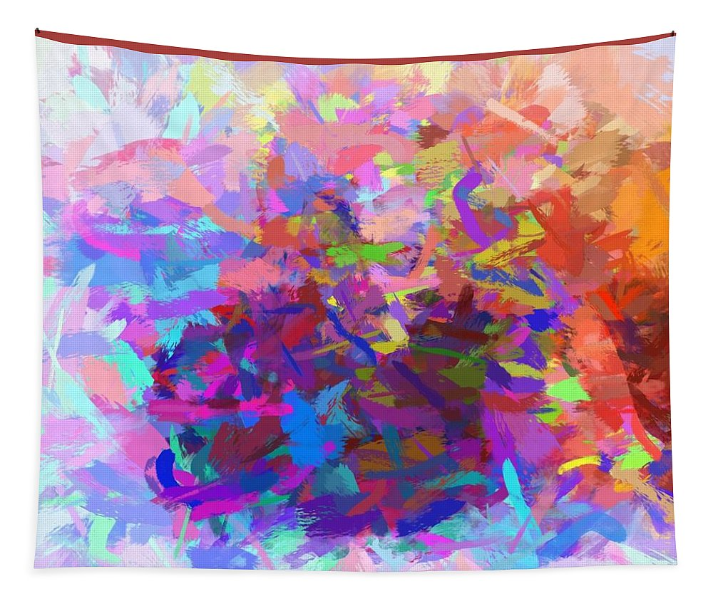 Strips Tapestry featuring the digital art Strips Of Pretty Colors Abstract by Debra Lynch