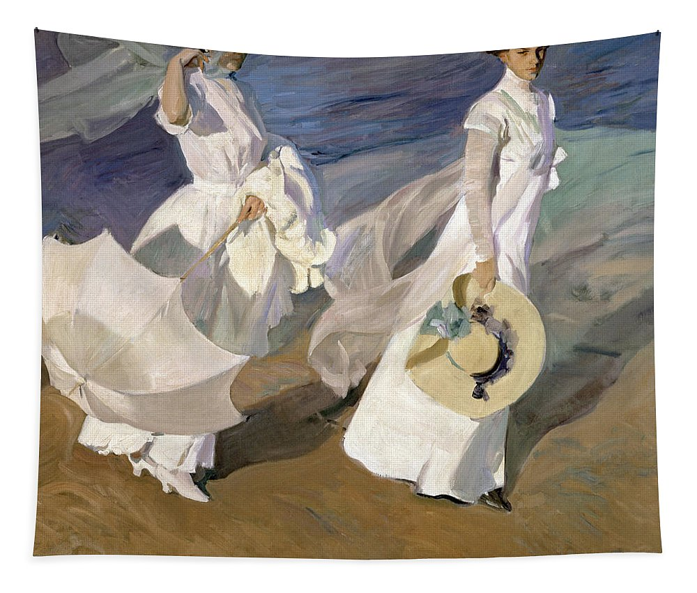 Sorolla Tapestry featuring the painting Strolling along the Seashore by Joaquin Sorolla y Bastida